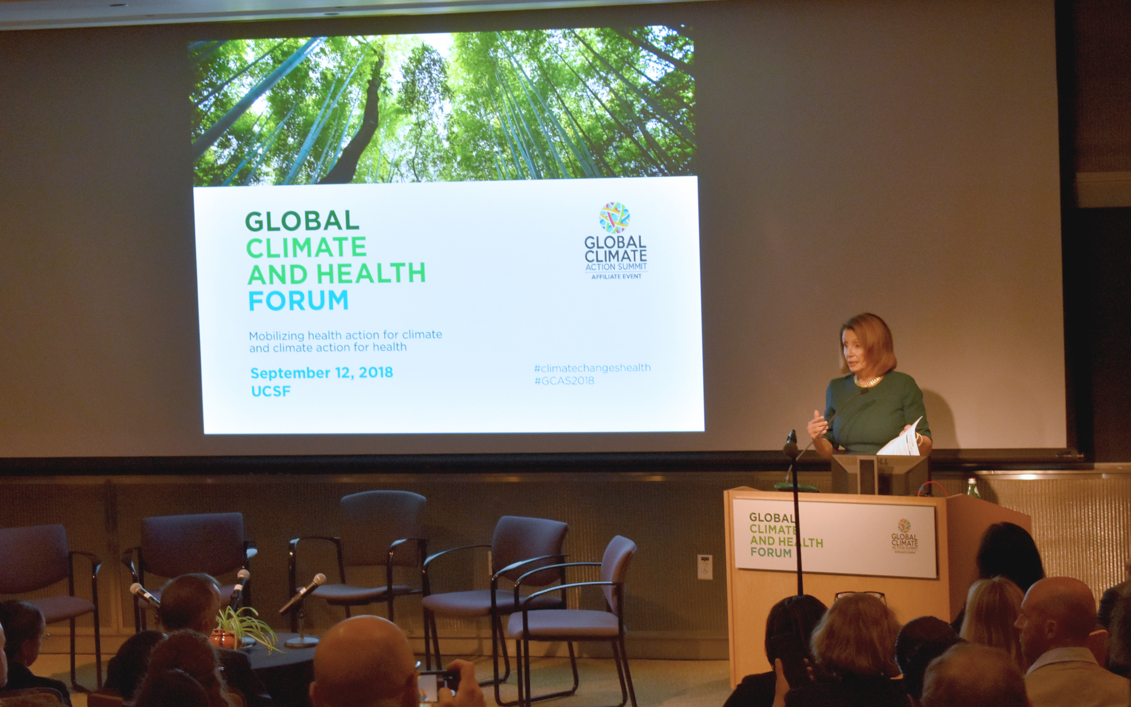 Nancy Pelosi, Democratic leader of the US House of Representatives at the Global Climate and Health Forum