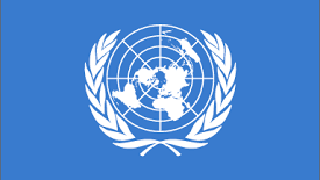 United Nations logo on blue background