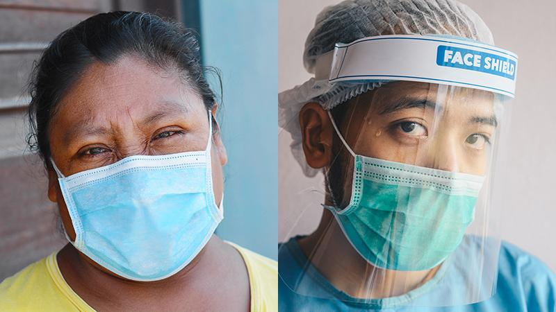 Healthcare workers wearing masks for Covid-19
