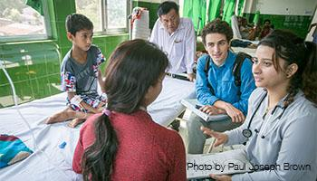UCSF Global Health master's student interviewing people in a hospital