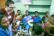 UCSF Global Health Sciences Master's student Jamen Rose Garcia observes an eye examination at Aravind Eye Hospital.