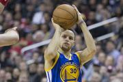 Stephen Curry of the Golden State Warriors takes a shot.