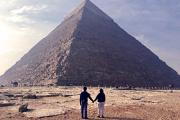 Chalaka's parents in front of the Great Pyramid of Egypt
