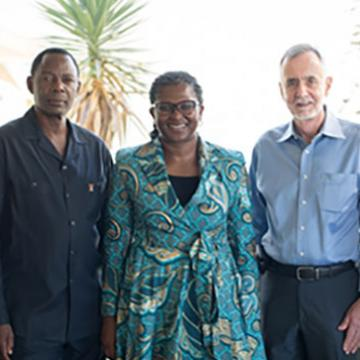 Richard N. Kamwi, ambassador, Elimination 8; Madame Monica Geingos, First Lady of the Republic of Namibia; Sir Richard Feachem, professor and director, Global Health Group, UCSF Global Health Sciences