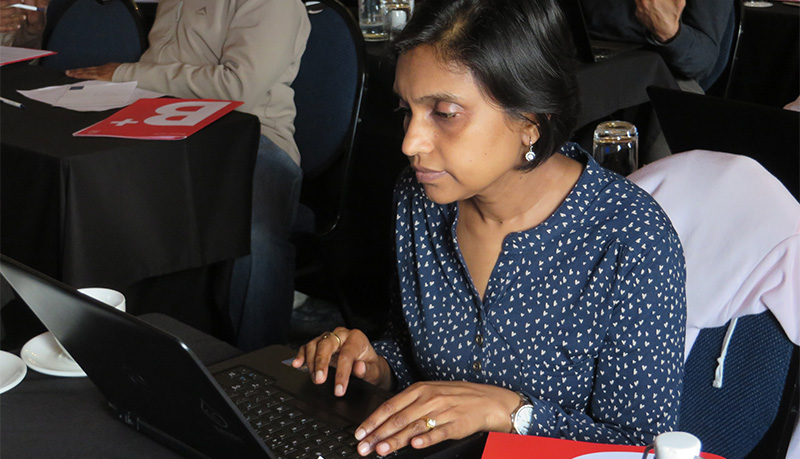 Female student working on computer